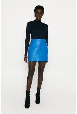 Blue Leather Mini Skirt