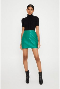 Green Leather Mini Skirt