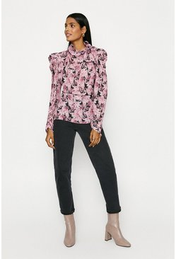 Multi Bow Side Print Floral Top