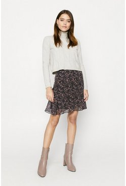 Animal Ruffle Hem Mini Skirt