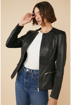 Black Collarless Leather Jacket