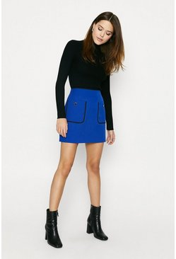 Cobalt Button Pocket Skirt