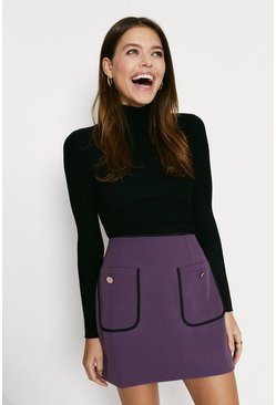 Purple Button Pocket Skirt