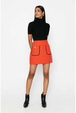 Red Button Pocket Skirt