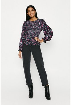 Multi Shirred Bodice Printed Long Sleeve Top