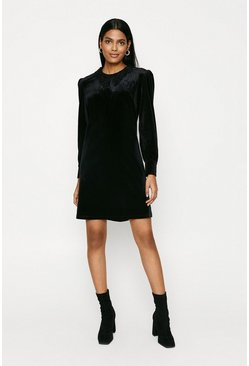 Black Lace Collar Velvet Dress