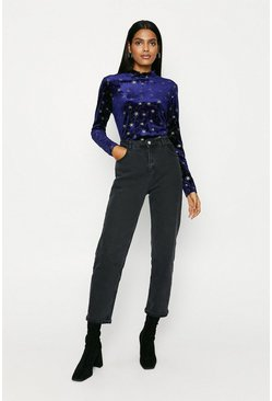 Navy Glitter Star Velvet High Neck Top