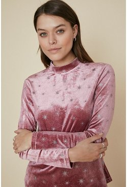 Pink Glitter Star Velvet High Neck Top