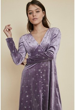 Lilac Glitter Star Velvet Button Skater Dress
