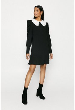 Black Collar Puff Sleeve Dress