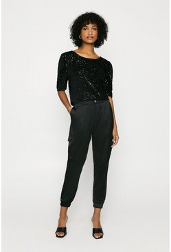 Black Sequin Puff Sleeve Top