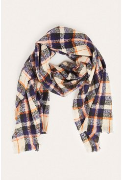 Orange Checked MidWeight Scarf