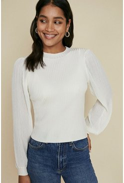 Ivory Contrast Sleeve Jumper