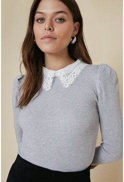 Grey Puff Shoulder Mesh Collared Jumper