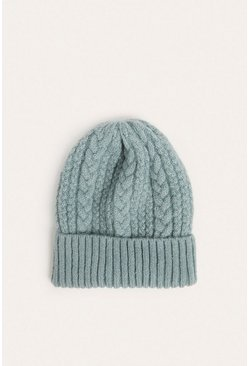 Blue Mixed Cable Knit Beanies
