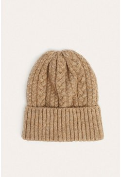 Camel Mixed Cable Knit Beanies
