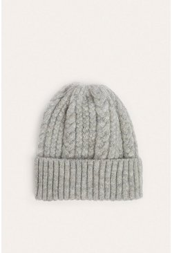 Grey Mixed Cable Knit Beanies