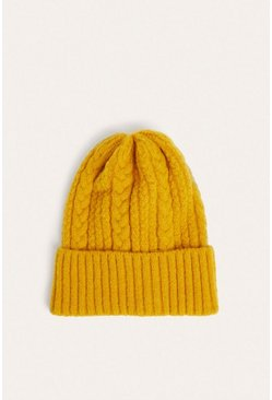 Ochre Mixed Cable Knit Beanies