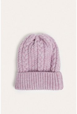 Pink Mixed Cable Knit Beanies