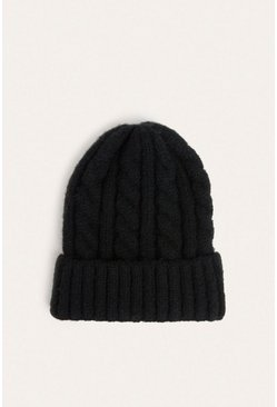 Black Chunky Cable Knit Beanies