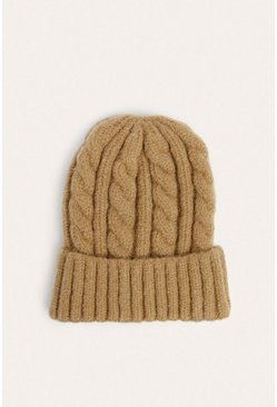 Camel Chunky Cable Knit Beanies