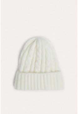 Cream Chunky Cable Knit Beanies