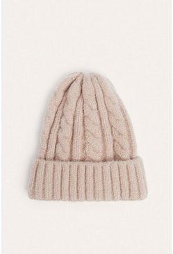Pink Chunky Cable Knit Beanies