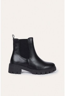 Black Faux Leather Chunky Chelsea Boot