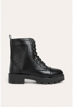 Black Faux Leather Lace Up Boot