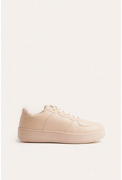 Beige Faux Leather Platform Trainer