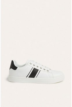 Black Faux Leather Stripe Trainer