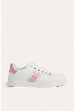 Pink Faux Leather Stripe Trainer