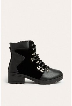 Black Lace Up Faux Leather And Suedette Hiking Boot