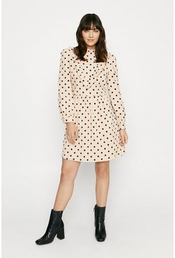 Beige Cord Spotty Dress