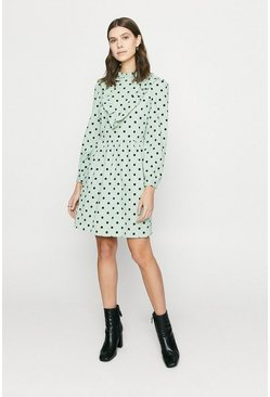 Green Cord Spotty Dress