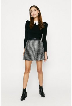 Black Tweed Skater Skirt