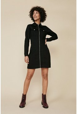 Black Long Sleeved Zip Through Denim Dress