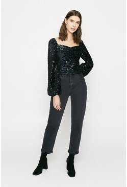 Blue Velvet Sequin Balloon Sleeve Top