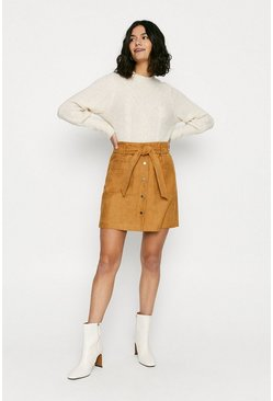 Brown Faux Suede Button Through Skirt