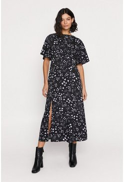 Black Heart Print Midi Dress