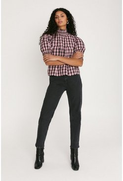 Multi Check Print Blouse