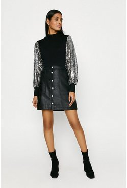 Silver Sequin Sleeve Jumper