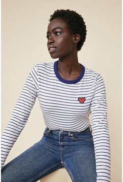 White Heart Patch Stripe Top
