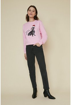 Pink Dachshund Through The Snow Sweatshirt