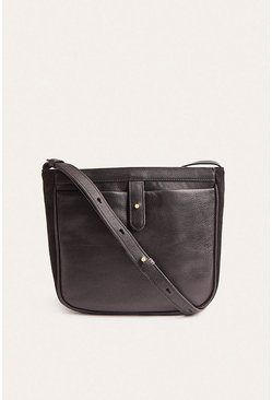 Black Leather And Suede Cross Body Bag