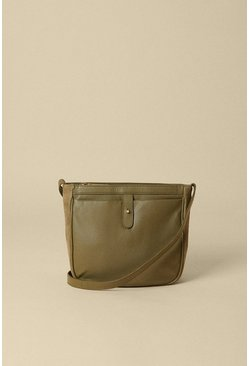 Khaki Leather And Suede Cross Body Bag