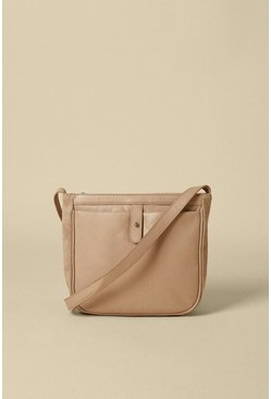 Mink Leather And Suede Cross Body Bag