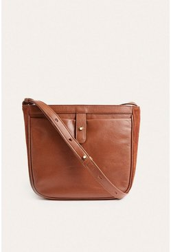 Tan Leather And Suede Cross Body Bag