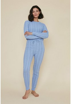 Bluebell Jumper And Jogger And Short Cable Loungewear Set