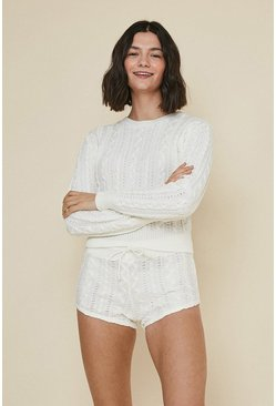 Cream Jumper And Jogger And Short Cable Loungewear Set